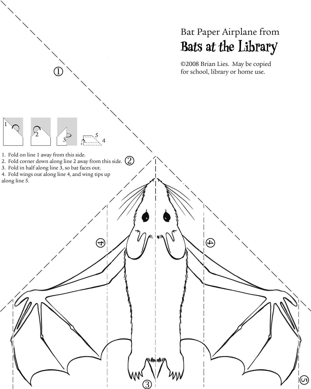 Bat Paper Airplane From Bats At The Library By Brian