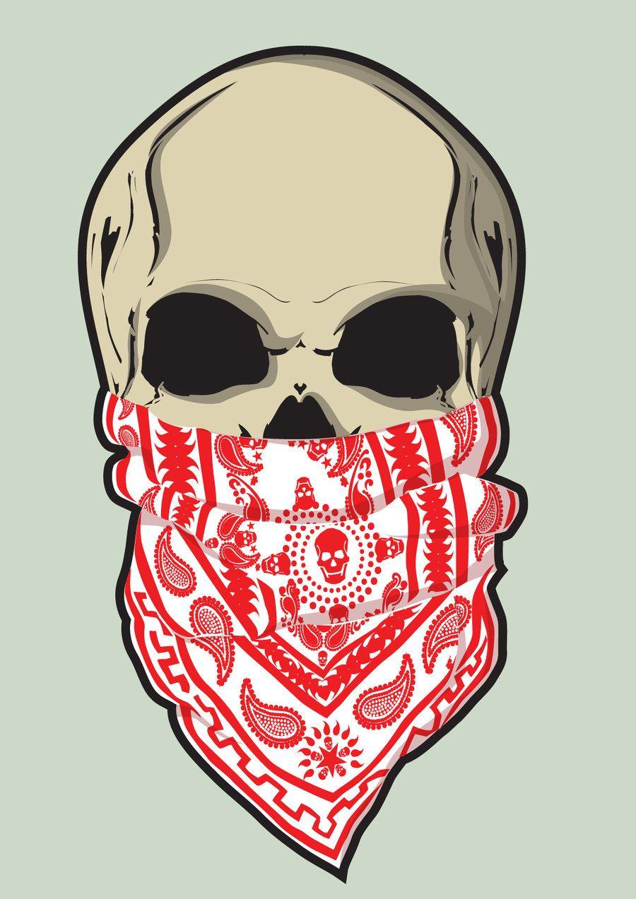 Skull And Bandana Easy Skull Drawings Skull Artwork Skulls Drawing