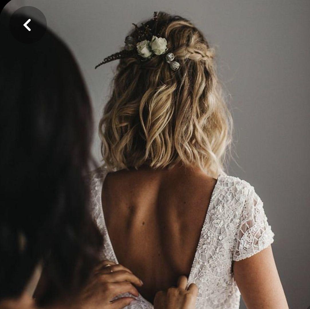 bridal bob with braids   hochzeit frisuren kurze haare