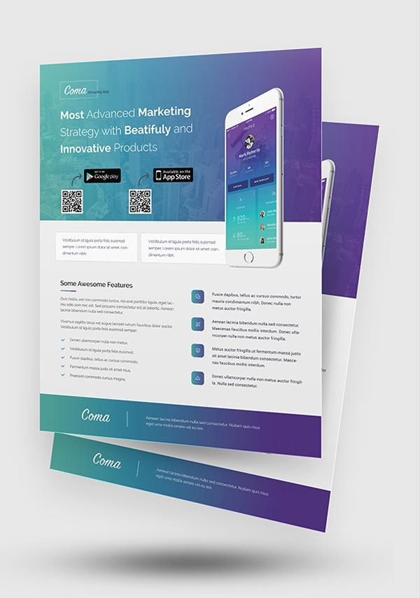 Mobile App Promotion Flyer Templates  Brochure  Flyer Designs