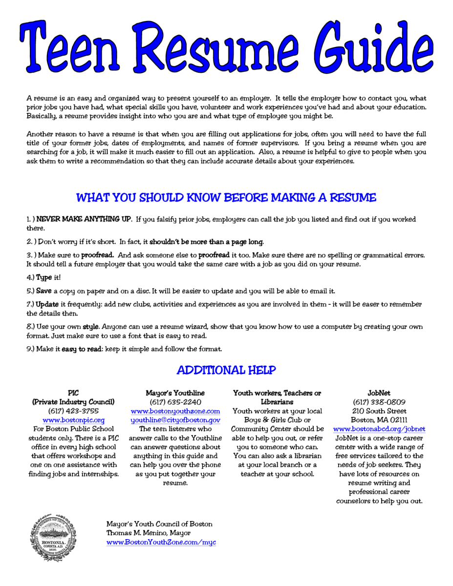 5 Resume For Teens Sample | Sample Resumes  Teen Resumes