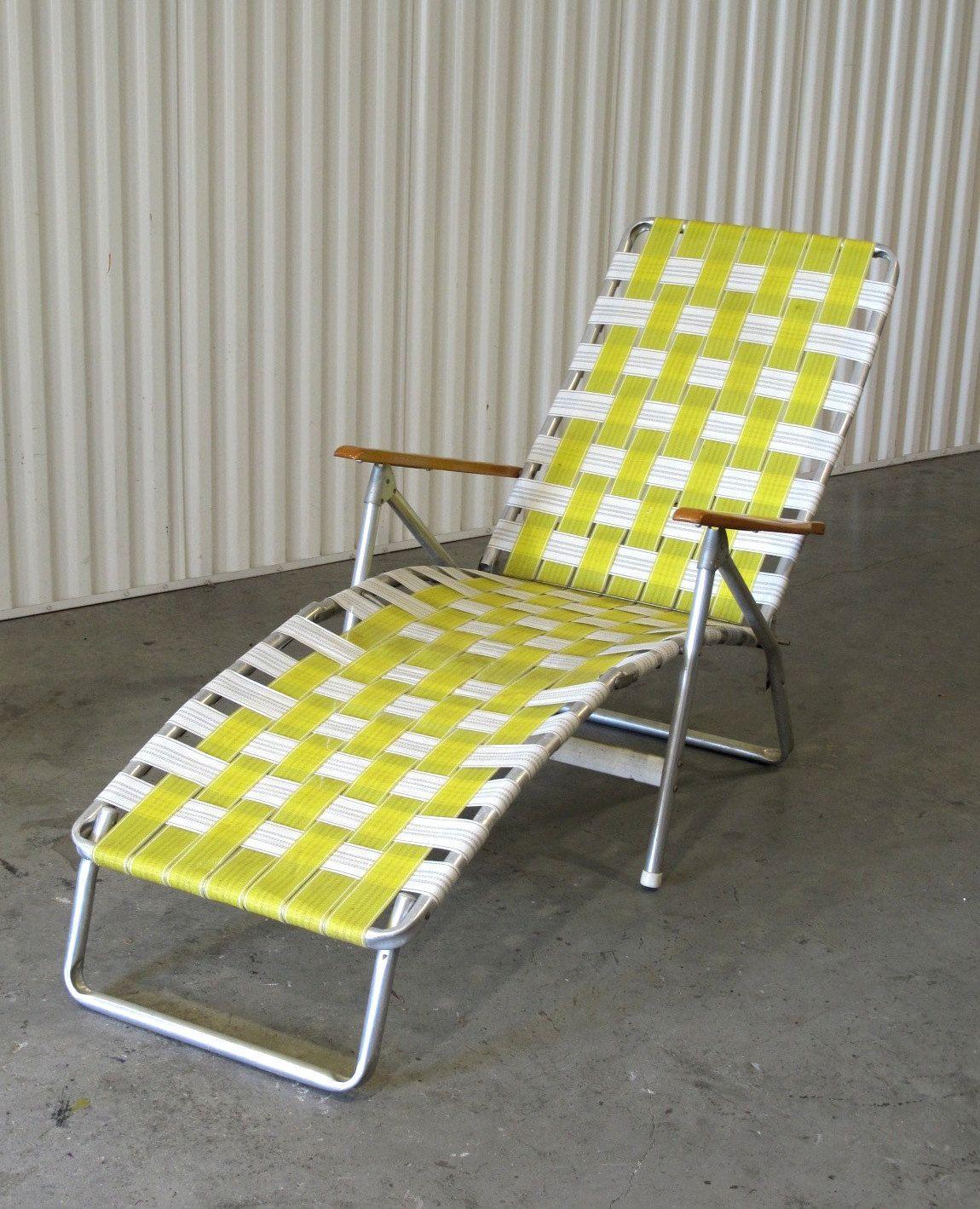 1960's Webbed Lawn Chair, Folding Beach Chair, Lounge