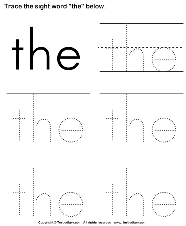 Download And Print Turtle Diary S Sight Word The Tracing Sheet Worksheet Our Large Collection Of Ela W Sight Word Worksheets Preschool Sight Words Sight Words