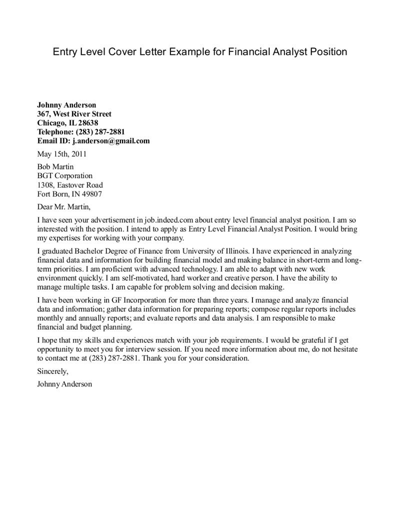 Financial Analyst Cover Letter Example  HttpWwwResumecareer