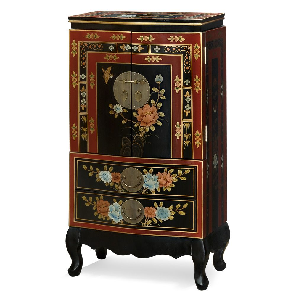 Hand painted tibetan design jewelry armoire hand painted for Hand painted oriental furniture