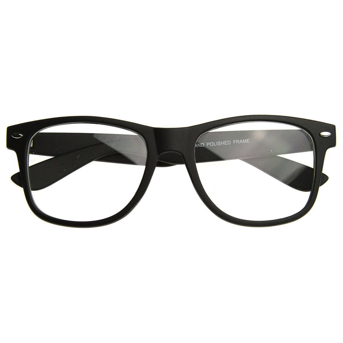 b60e6800b86e Matte Black Horned Retro Style Clear Lens Glasses w  Soft Finish Rubber  Coating
