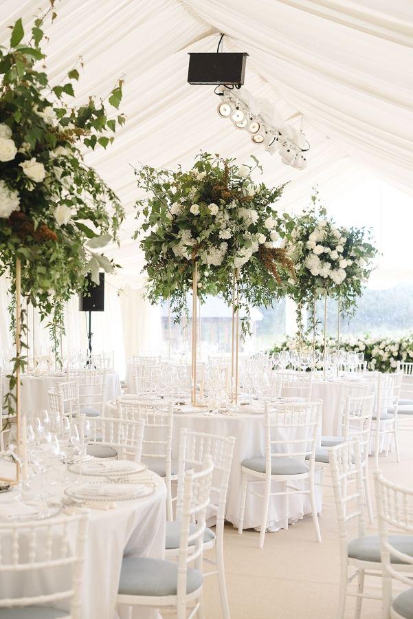 Elegant At Home English Summer Wedding | Greenery centerpiece ...