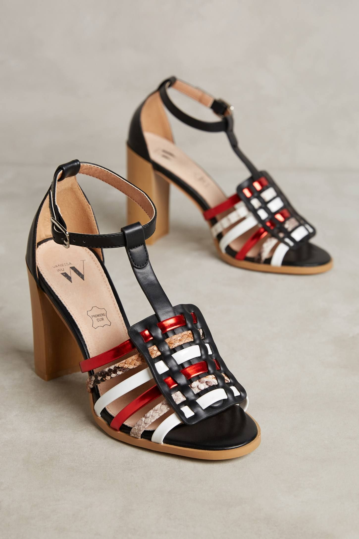 26f3dfd7bd Shop the Vanessa Wu Snake Print T-Strap Heeled Sandals and more  Anthropologie at Anthropologie today. Read customer reviews, discover  product details and ...