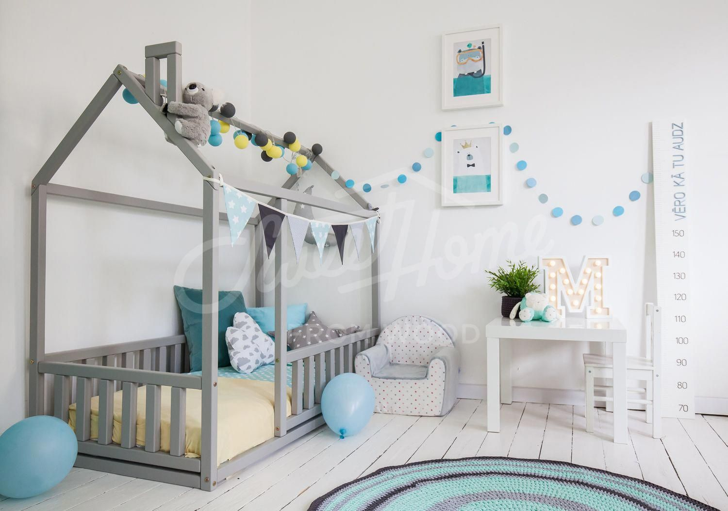 Mint Grey Yellow Kids Room Interior Boys Room Toddler Bed