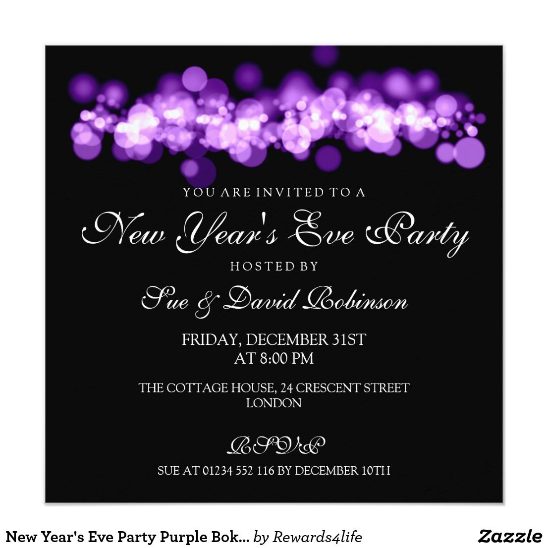 New Year\'s Eve Party Purple Bokeh Lights Card | Invitation cards ...
