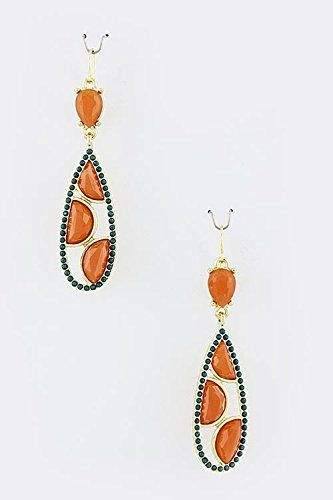 TRENDY FASHION JEWELRY BEADED DROPLET EARRINGS BY FASHION DESTINATION  Orange >>> To view further for this item, visit the image link. Note:It is Affiliate Link to Amazon.