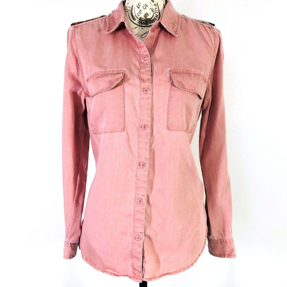 87d704a5 Lucky Brand Blush Pink Shirt Tencel Chambray Button Front Roll Tab Womens  Sz M | eBay