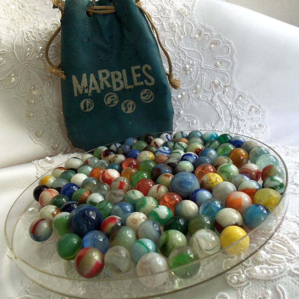 Vintage Glass Marble Collection With Leather Pouch