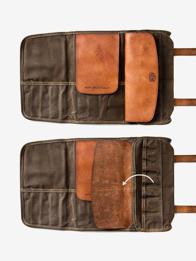 Moto Exclusive v/éritable cuir marron sacoche outils sac