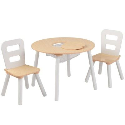 Ensemble Table Avec Rangement Et 2 Chaises Beige Table Et Chaise Enfant Table Et Chaises Table Ronde Bois