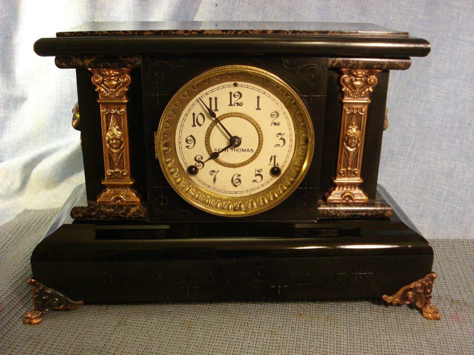 Seth Thomas Mantle Clock Circa 1890 Black Adamantine Antique