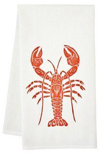 Organic Lobster Tea Towel, Orange