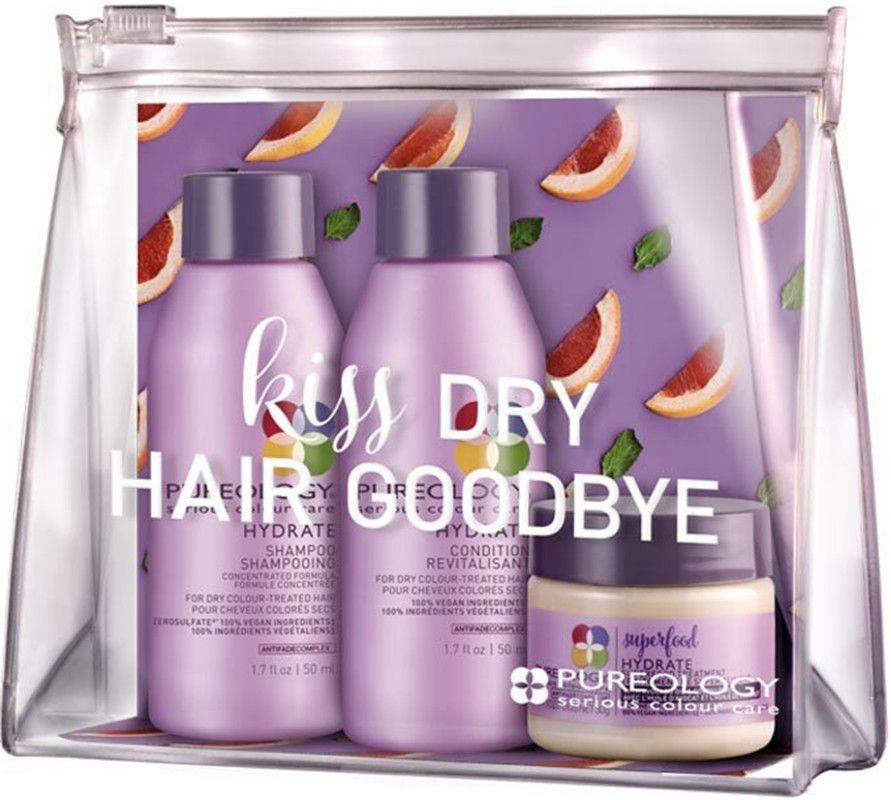 Kiss Dry Hair Goodbye With Pureology S Essentials Kit For Hydrated Beautiful Hair This Kit Features Hydrate Shampoo And Con Shampoo Pureology Moisturize Hair