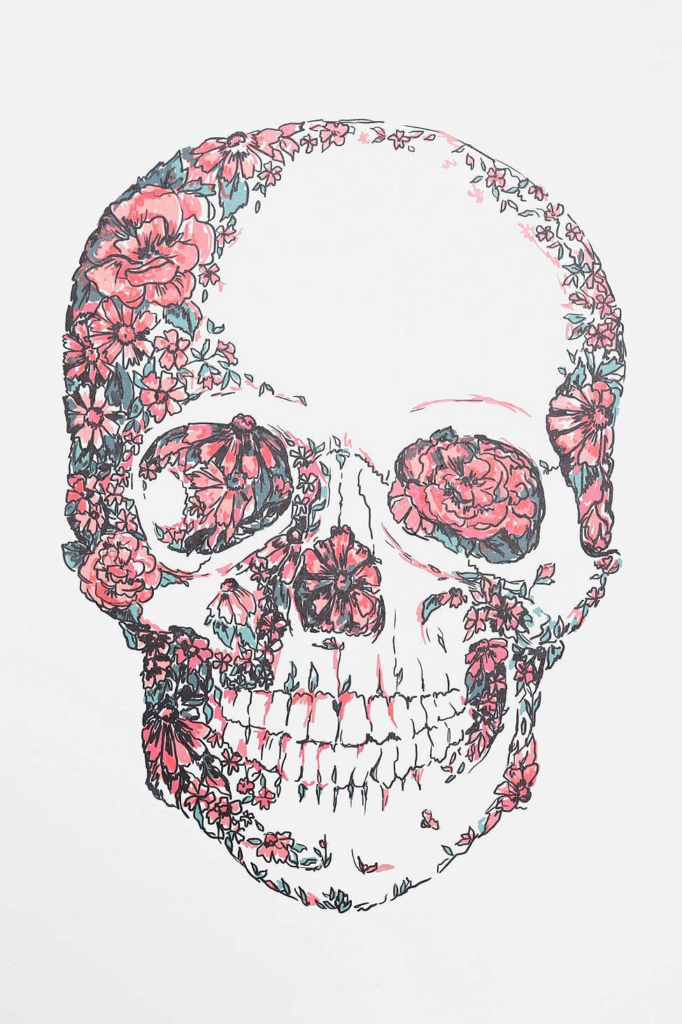 Floral Skull Wall Decal Skull Wallpaper Floral Skull Skull