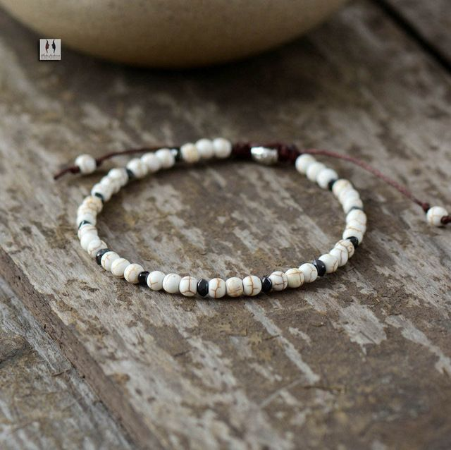 Boho Bracelet Mens Beaded Bracelet 4mm Semi Precious Stone