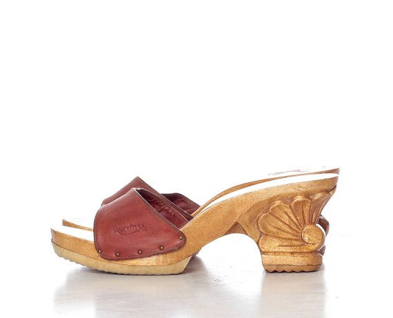 411b9de46063f Carved Wooden Heels Shoes 70s Leather MULES 1970s Platforms Sandals ...