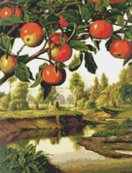 Landscape with Apple Tree Counted Cross Stitch Chart, Instant Digital Download Cross Stitch Pattern, Levi Wells Prentice, Needlework Pattern