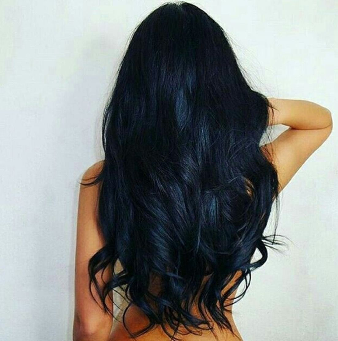 Blue-black all over color on long, wavy hair. Stunning.  Hair