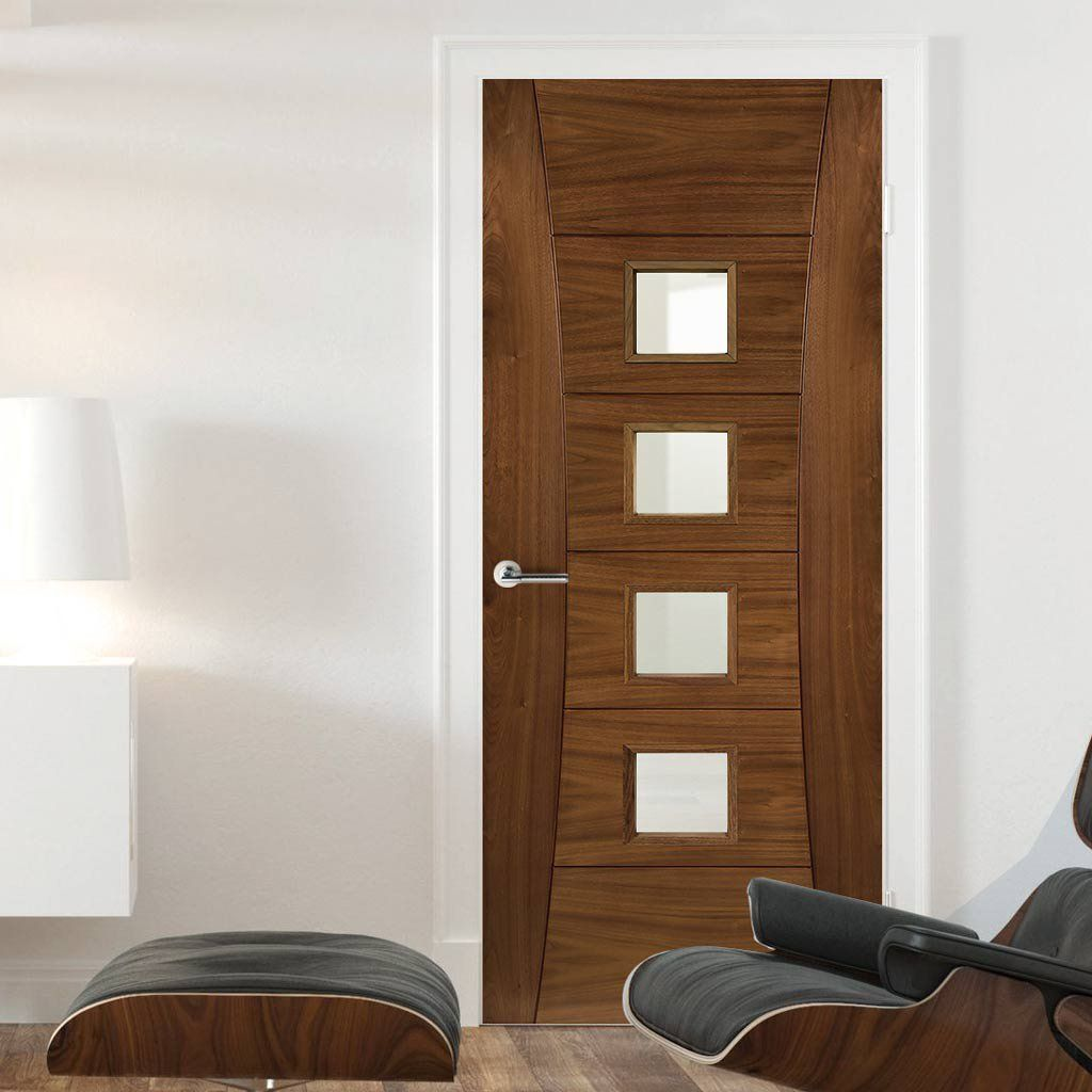 Pamplona Walnut Fire Door Clear Glass 1 2 Hour Fire Rated Prefinished Fire Doors Walnut Doors Glass Door