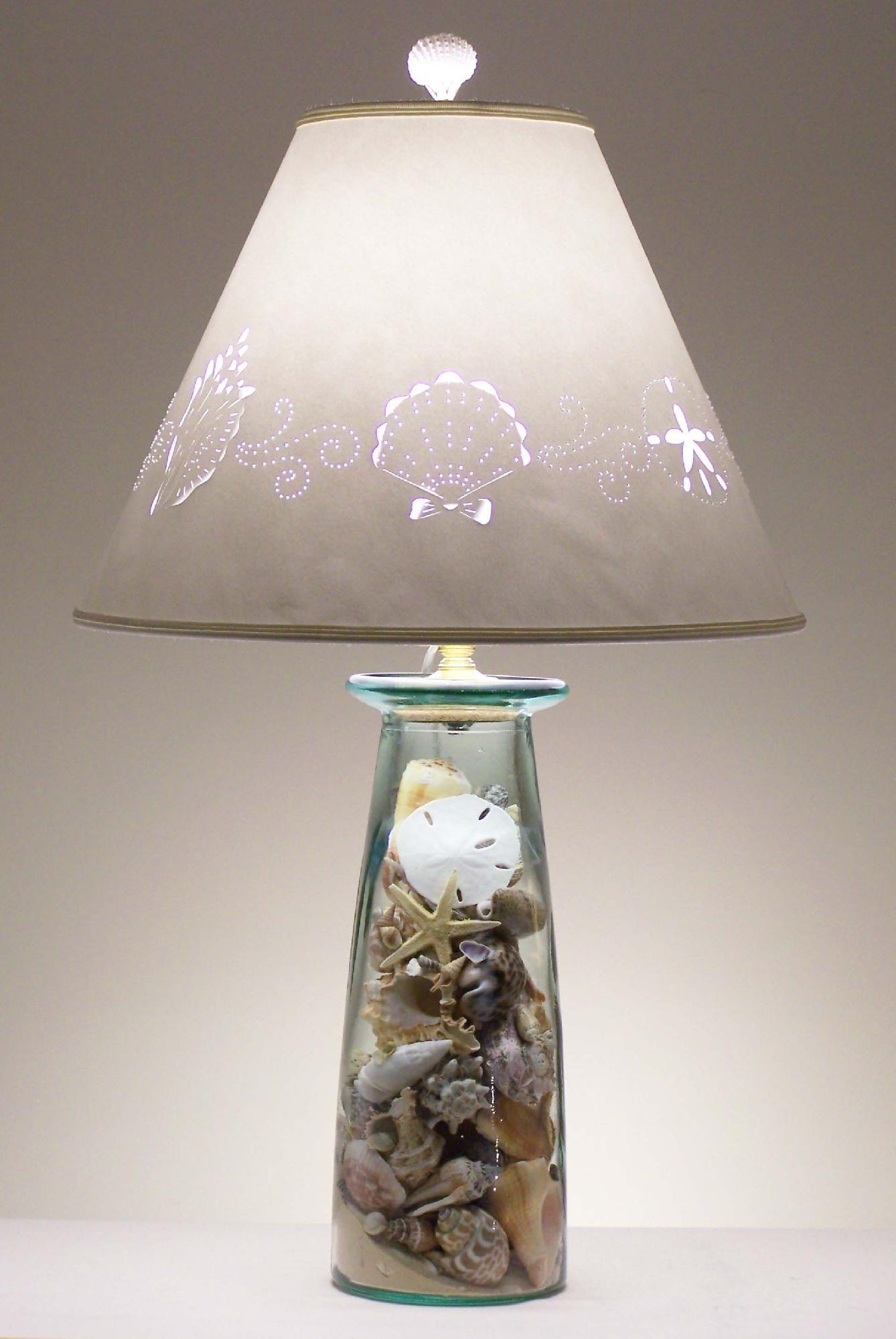 How To Make A Seashell Lamp Seashells Lamp Beach Themed Room