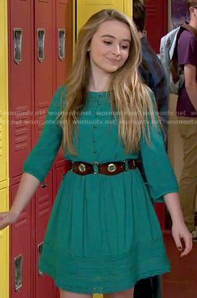Maya's green lace panel dress on Girl Meets World. Outfit Details: http://wornontv.net/51144/ #GirlMeetsWorld
