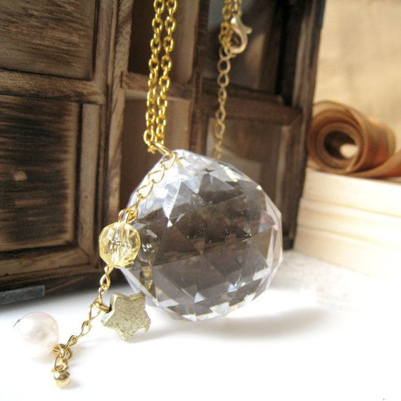 Big Clear Faceted Bead with White Pearl and Yellow by zazastory, $17.00