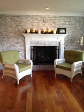 Fireplace Remodel Brick To Ceiling Brick Fireplace Wall Fireplace Remodel White Wash Brick Fireplace