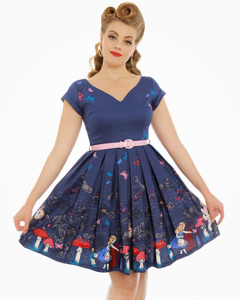 12a40b888818 Aria  Purple Alice In Wonderland Print Swing Dress