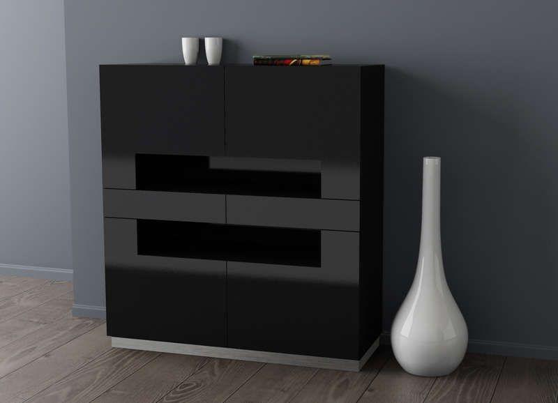 Vaisselier laqu design Noir VAISSELIER HAVANA ...