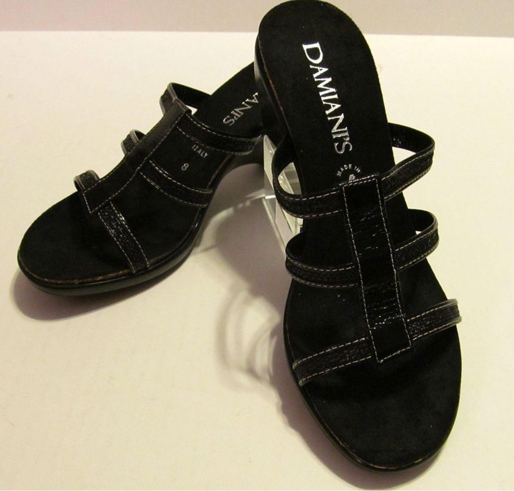 31322840a1 womens black size 8 sandal Slide Wedge Heel Hand Made Italian Damiani Shoe