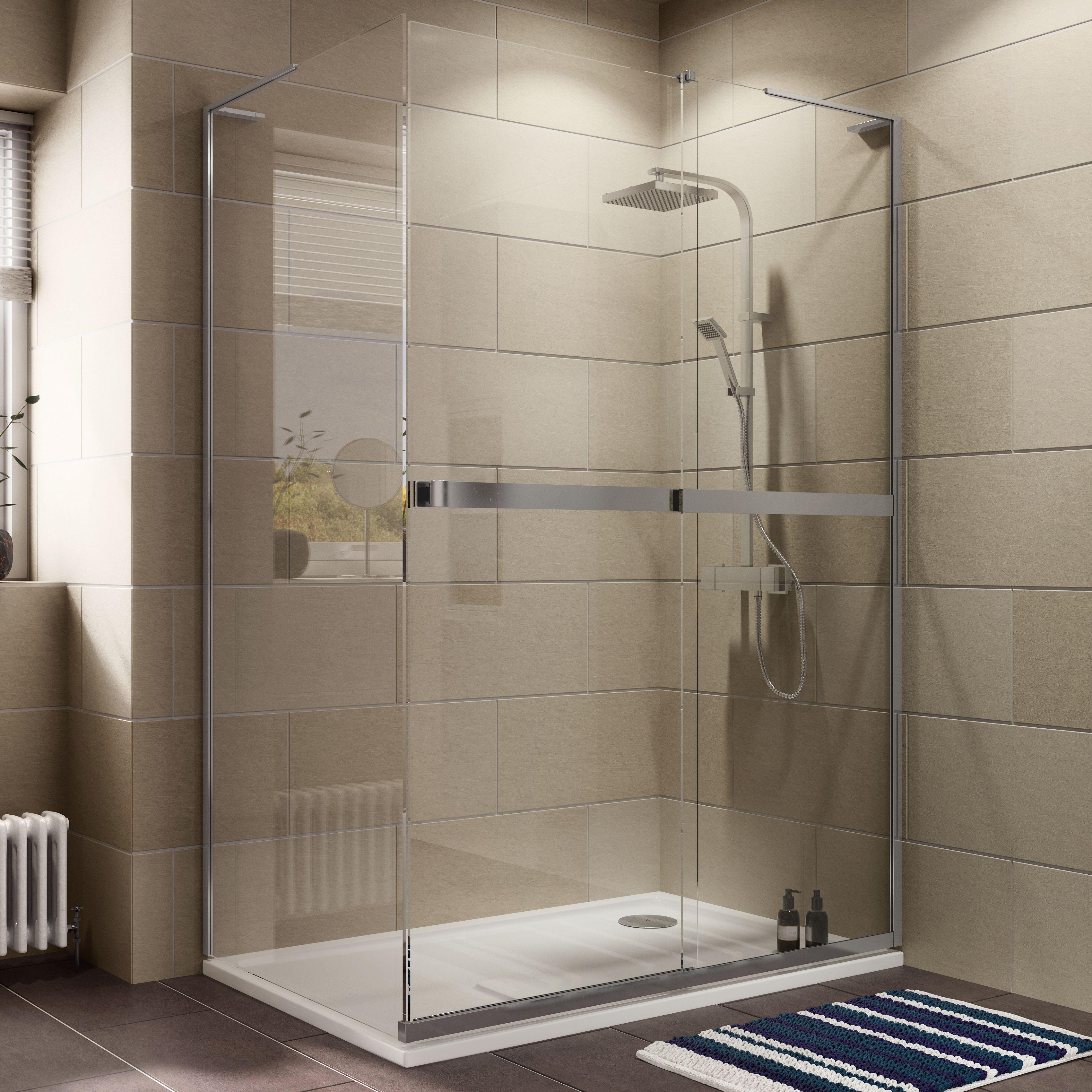 Cooke & Lewis Grandeur Rectangular RH Shower Enclosure, Tray & Waste ...