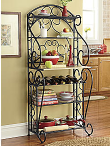 Beautiful Italian Scrolled Bakers Rack Wrought Iron Decor Home