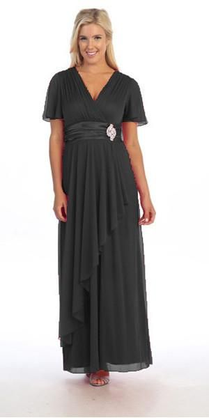 Ankle Length V Neckline Layered Black Concert Dress Concert