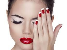 image result for red nails white tips