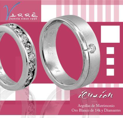 9be1fe3ad571 Argollas de Matrimonio Oro Blanco de 14k   Diamante   Churumbelas Platino    Diamante  Joyería   Anillo de Compromiso Platino   Diamante  joyería   ...