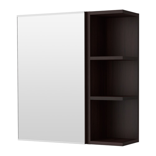 ikea lill ngen spiegelschrank 1 t r 1 abschlregal schwarzbraun offene ablage f r. Black Bedroom Furniture Sets. Home Design Ideas
