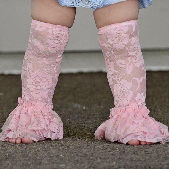Vintage Lace Leg Ruffles Legwarmers Leggings  Infants ages Newborn to One Year