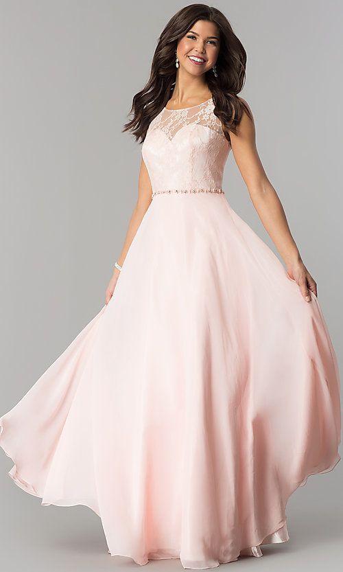 Black Lace Bodice Illusion Neckline Chiffon Prom Dress