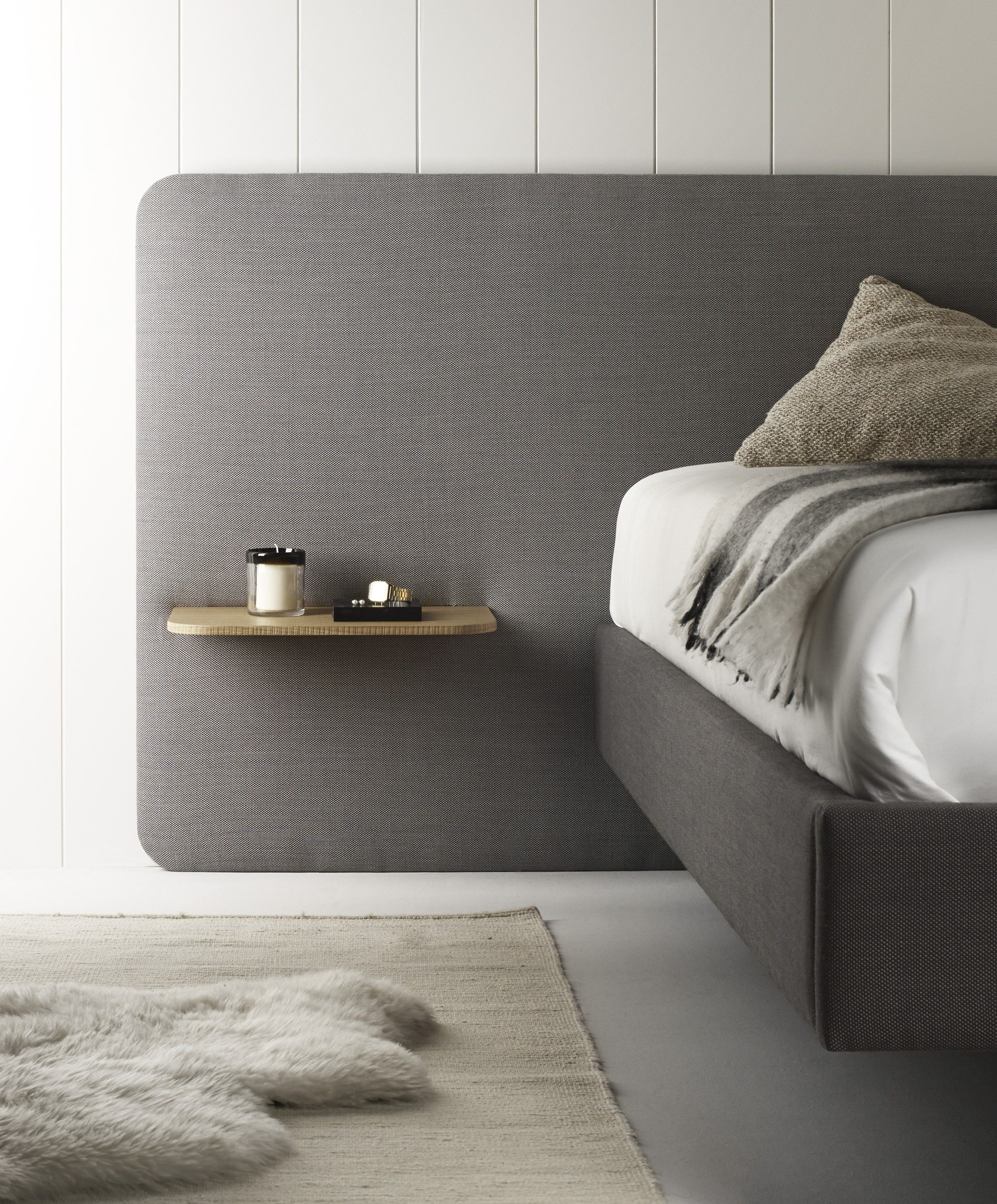 Fabric double bed with upholstered headboard lota by treku - Bed without headboard ideas ...