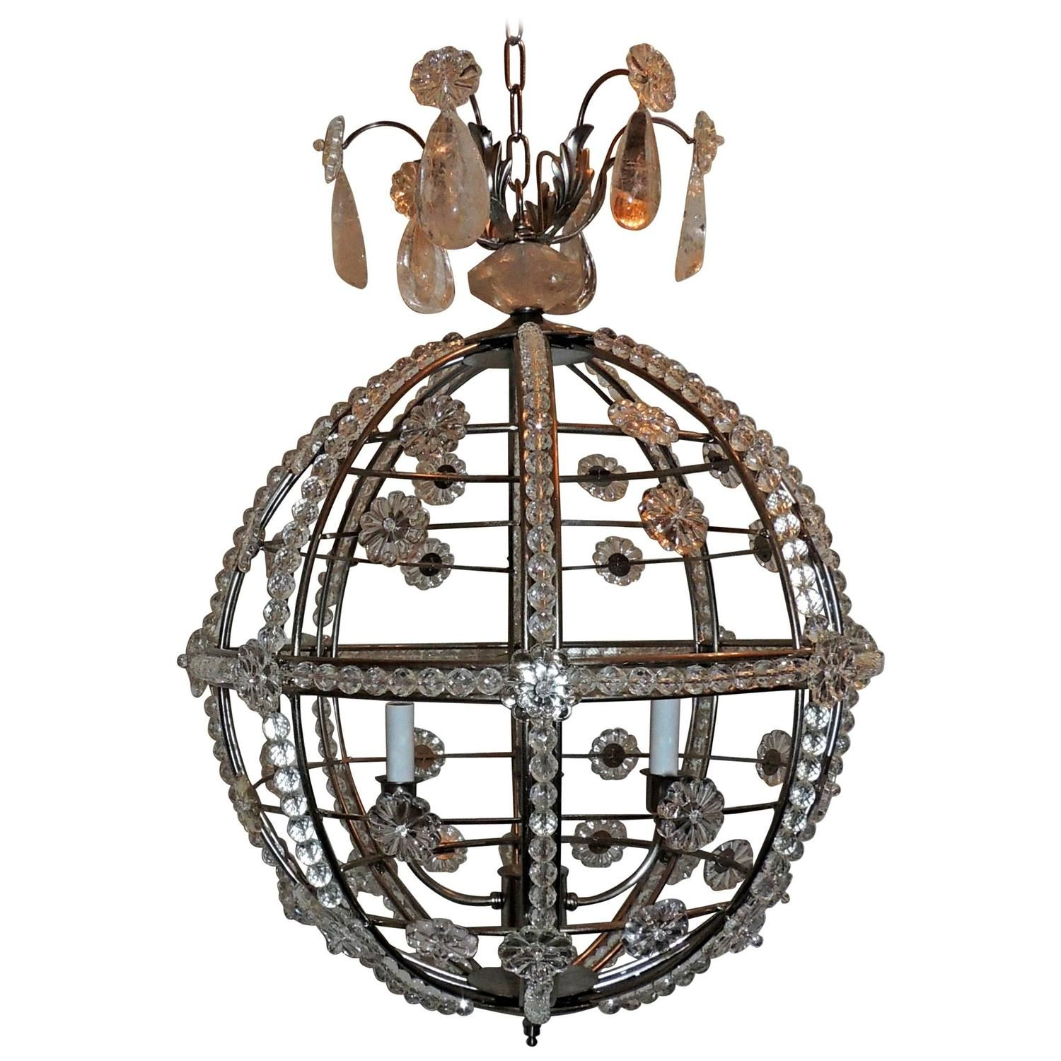 Modern Transitional Brushed Nickel Sputnik Rock Crystal Globe