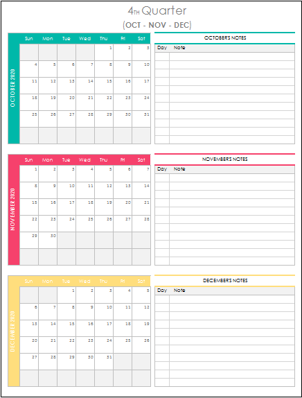 Quarterly Calendar 2021 Excel Template | Etsy | Quarterly calendar