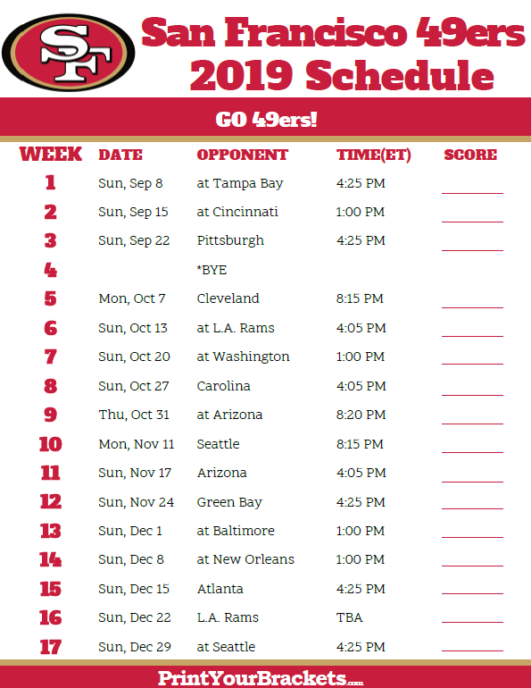 graphic about 49ers Printable Schedule identify Printable San Francisco 49ers Timetable - 2019 Year
