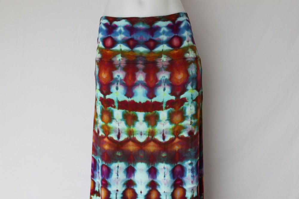Tie Dye Maxi skirt ice dyed - Size Large - Confetti stained glass by ASPOONFULOFCOLORS on Etsy