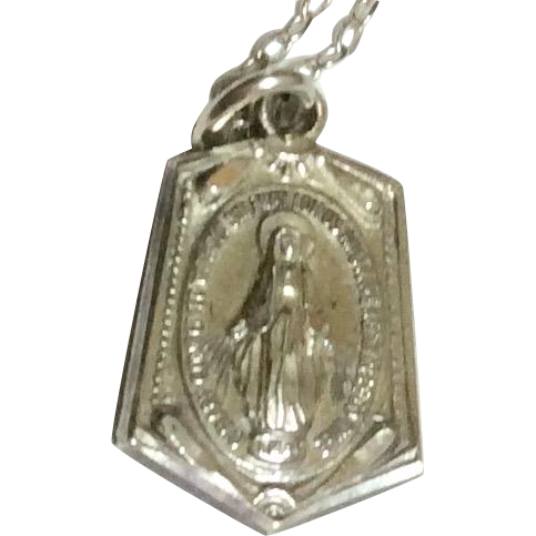 Vintage Sterling Silver Creed Miraculous Medal & Chain