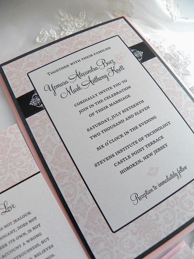 Black And Blush Pink Damask Wedding Invitation Set 3 99 Via Etsy